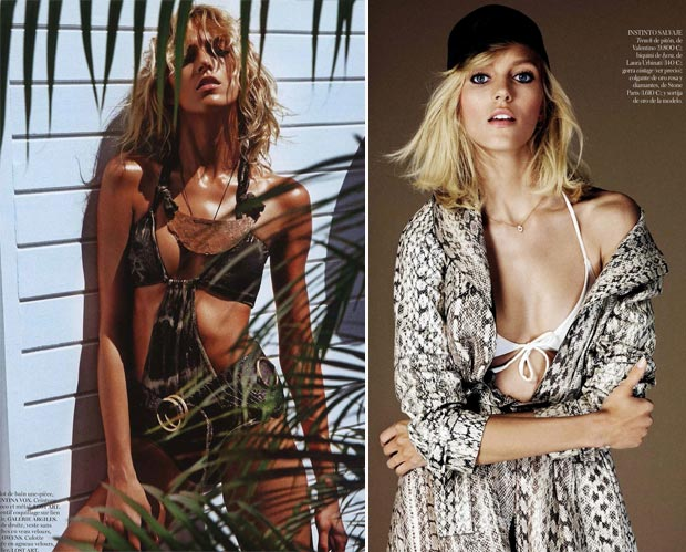 Anja Rubik Vogue Paris vs Vogue Spain swimsuit