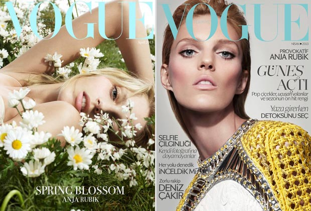 Anja Rubik covers Vogue Turkey April 2013 covers