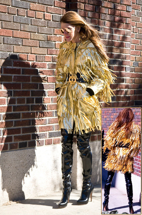Anna Dello Russo Moschiuno Golden fringe coat