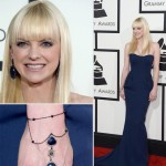 Anna Faris blue dress jewelry 2014 Grammy Awards