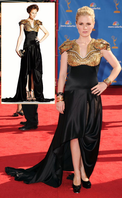 Anna Paquin Emmys 2010 Alexander McQueen black dress