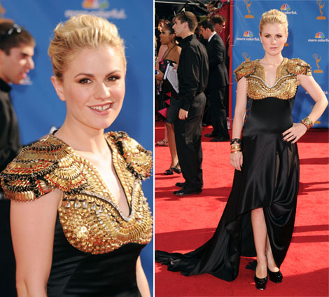 Anna Paquin Emmys 2010 Red Carpet Alexander McQueen black dress