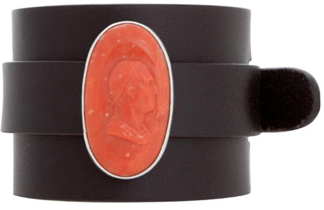 Anna Porcu leather cuff coral cameo