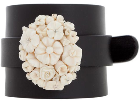 Anna Porcu leather cuff ivory bouquet