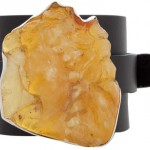 Anna Porcu leather cuff unfinished amber