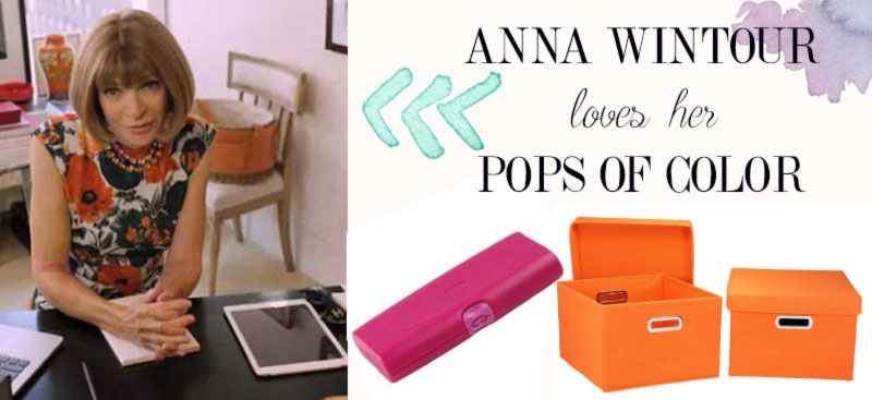 Anna Wintour home office inspiration pops of color