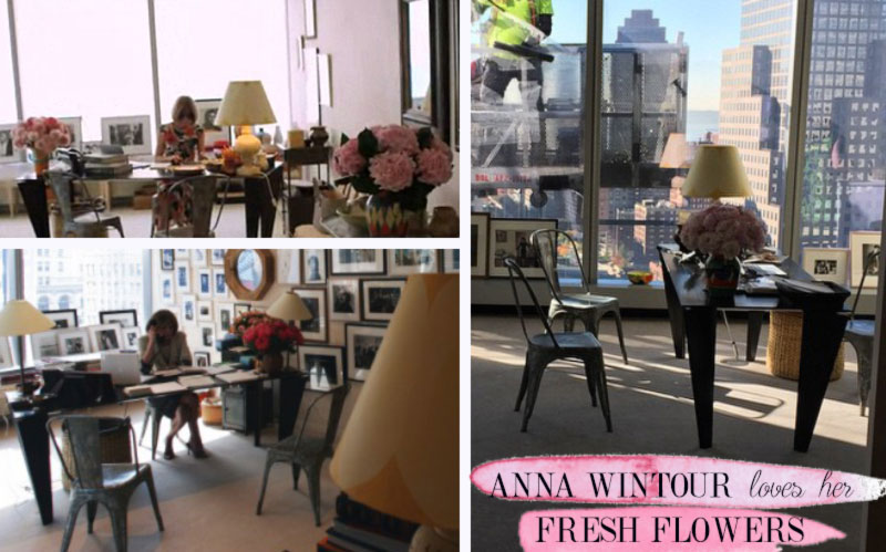 Anna Wintour office inspiration fresh flowers