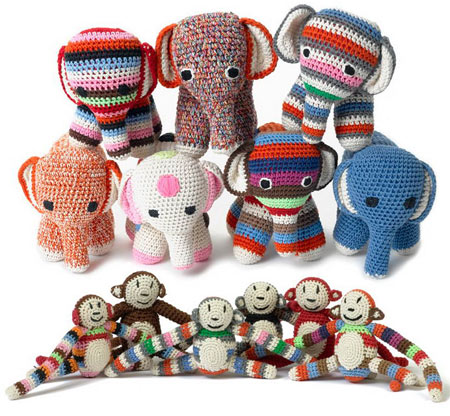Anne Claire Petit Accessories Elephants and Monkeys