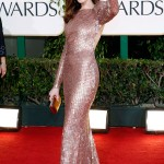 Anne Hathaway Armani sequined dress Golden Globes 2011 2