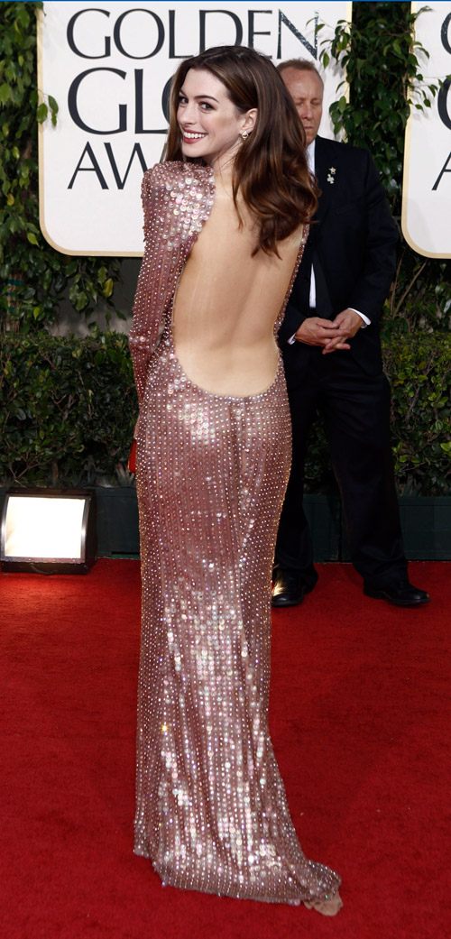 Anne Hathaway Armani sequined dress Golden Globes 2011 3