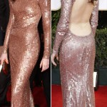 Anne Hathaway Armani sequined dress Golden Globes 2011