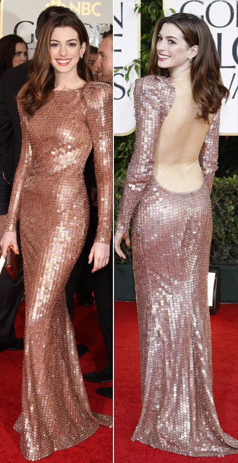 Anne Hathaway Armani sequined dress Golden Globes 2011 1 · Anne Hathaway