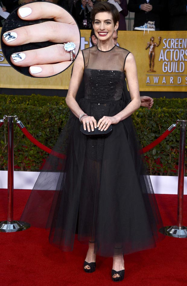 Anne Hathaway butterfly white nails 2013 SAG Awards