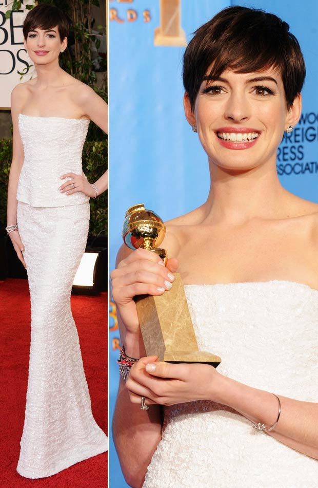 Anne Hathaway Chanel white dress 2013 Golden Globes