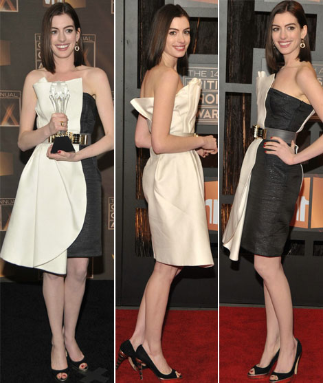 anne hathaway wearing black and white dress