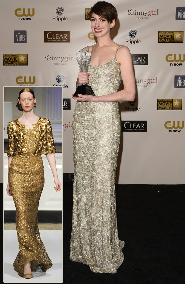 Anne Hathaway de la Renta dress Critics Choice Awards 2013