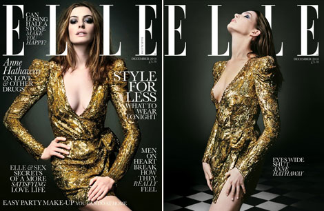 Anne Hathaway Elle UK December 2010 covers