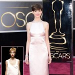 Anne Hathaway light pink revealing dress 2013 Oscars