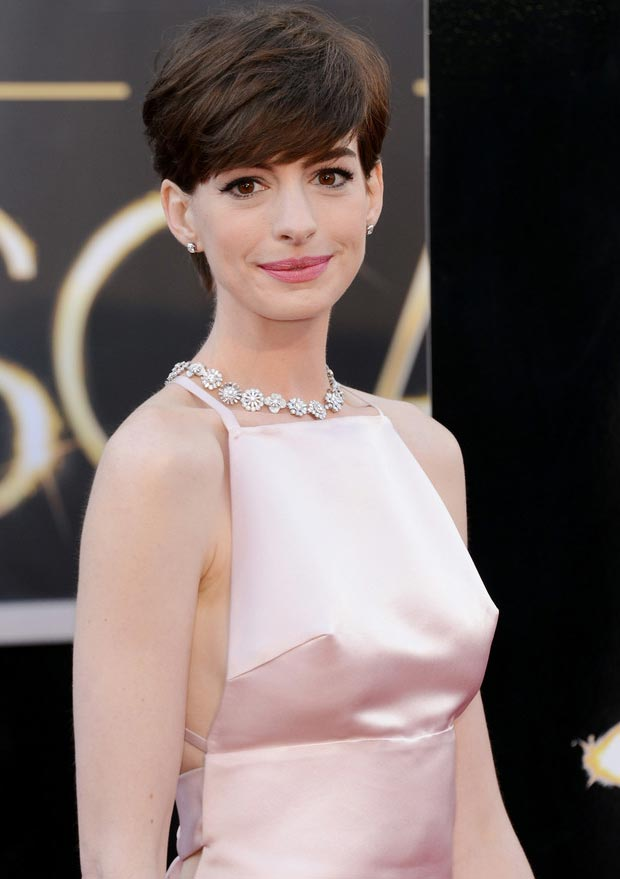 Anne Hathaway side revealing dress 2013 Oscars