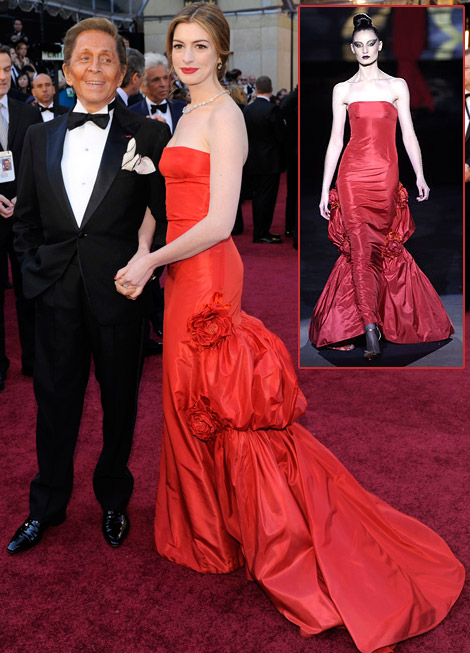 Anne Hathaway red Valentino dress 2011 Oscars