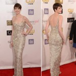Anne Hathaway sequined Oscar de la Renta dress Critics Choice Awards 2013