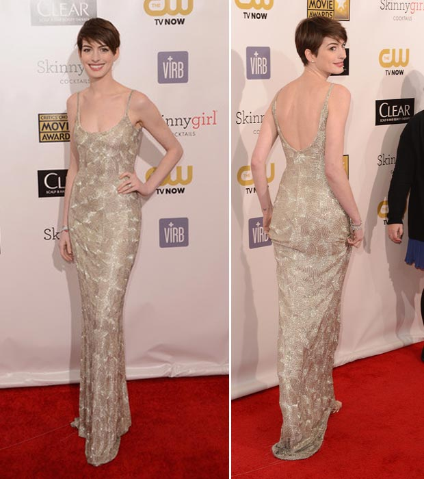 Anne Hathaway's De La Renta Silver Sequined Dress, Critics Choice Awards 2013
