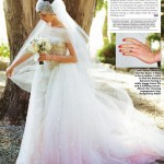 Anne Hathaway soft pink wedding gown lovely bouquet