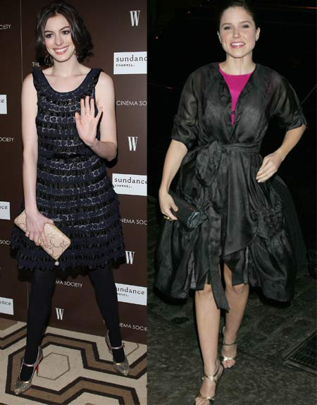 Anne Hathaway and Sophia Bush at Marc Jacobs and Louis Vuitton screening