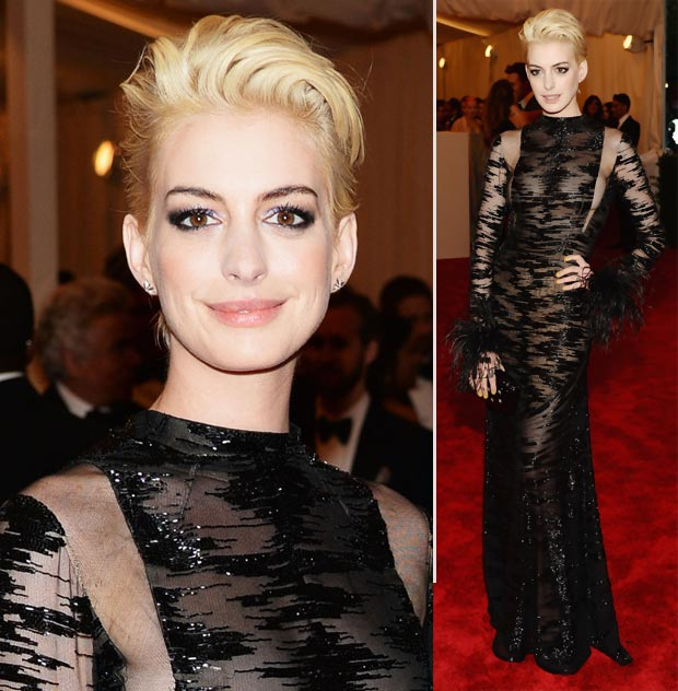 2013 Met Gala Fashion: Anne Hathaway Valentino Black Sheer Dress