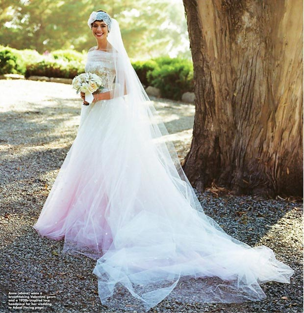 Anne Hathaway wedding dress veil Valentino