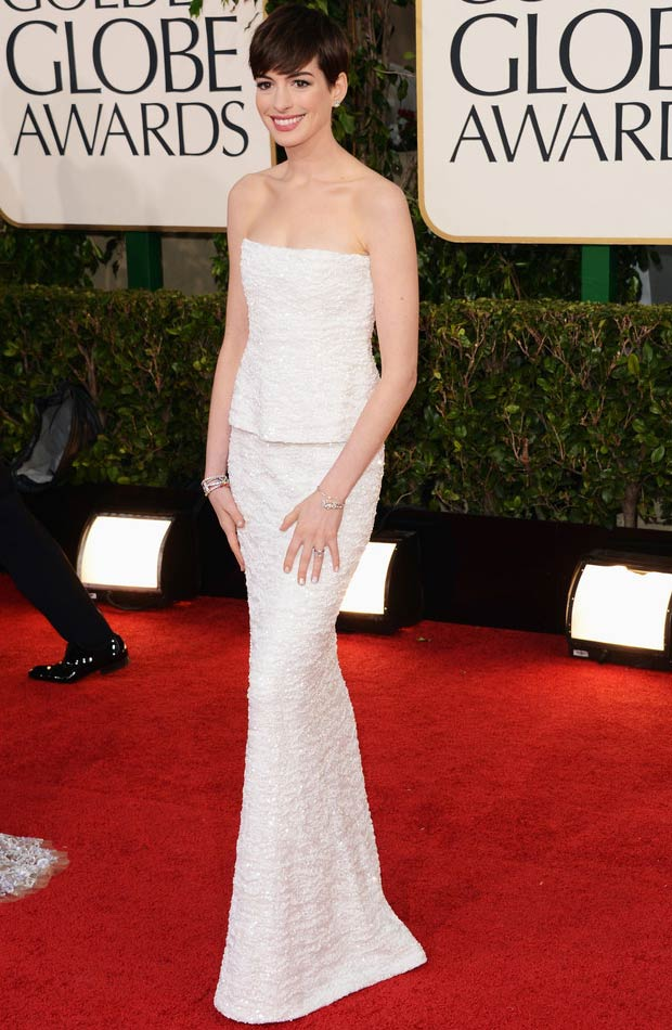 Anne Hathaway white dress 2013 Golden Globes