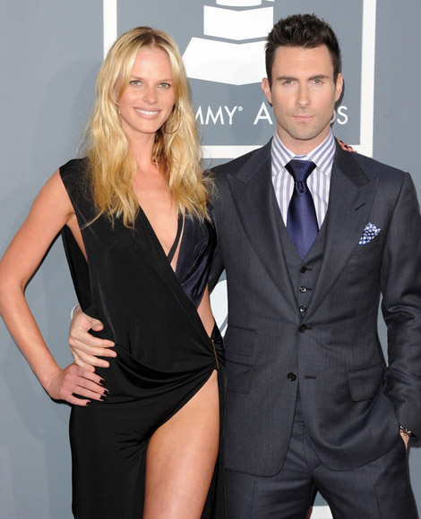 Anne V very little black dress 2012 Grammy Awards with Adam Levine