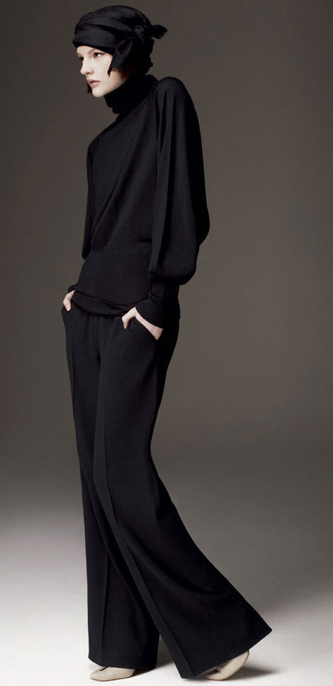 Aquascutum black pullover wide leg pants