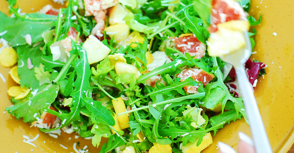 arugula grapefruit mixed greens salad