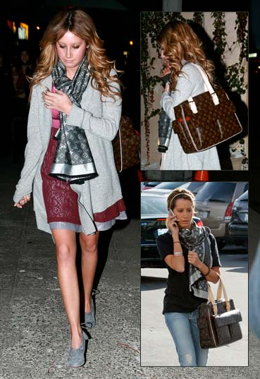 Ashley Tisdale Night Out Louis Vuitton Bag and Scarf