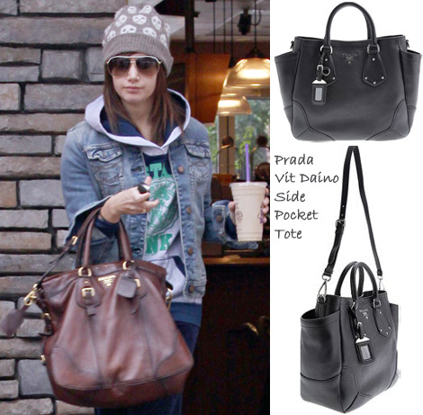 Ashley Tisdale Vit Daino side pocket Prada tote