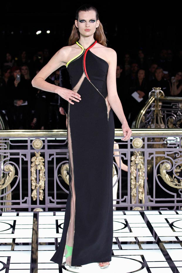Atelier Versace Spring 2013 black zippered cutout dress
