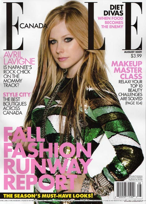 Avril Lavigne Elle Canada August 2009 cover