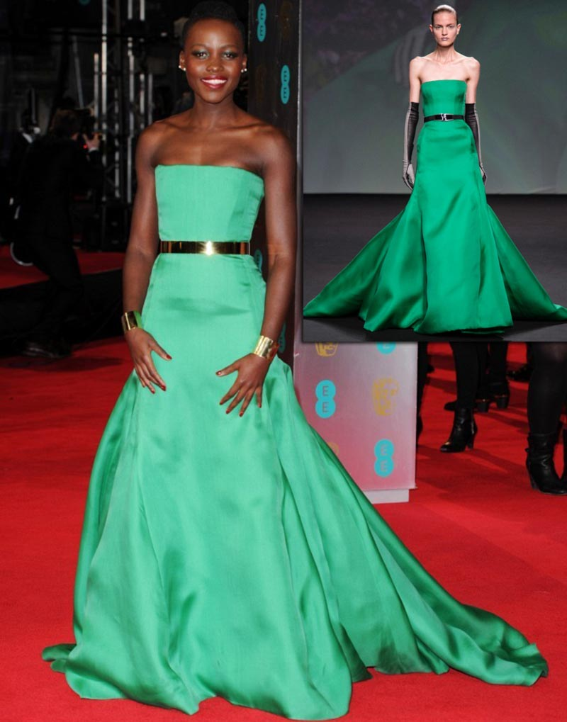 Bafta 2014 Red Carpet Lupita N Yongo green Dior dress