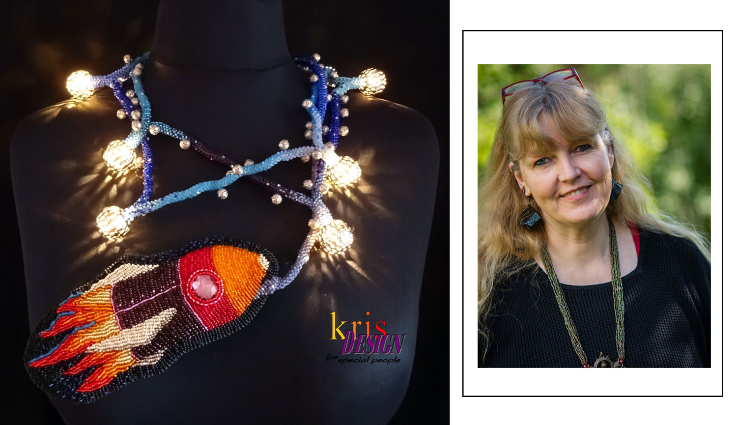 beaded necklace by Kris Design Germany based jewelry designer