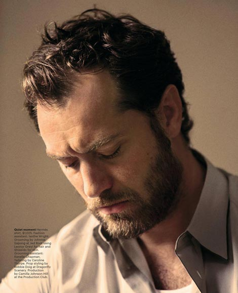 bearded Jude Law T Magazine