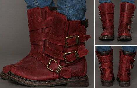 beautiful distressed burgundy boots Jeffrey Campbell Lee Boot