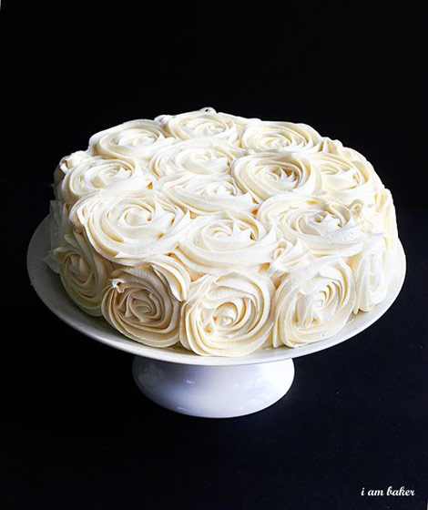 Beautiful white rose cake