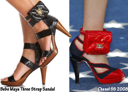 Bebe Maya Three Strap Sandal vs Chanel SS 2008