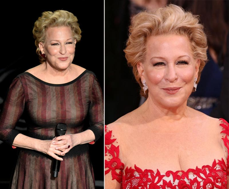 Bette Midler 2014 Oscars hair makeup dresses