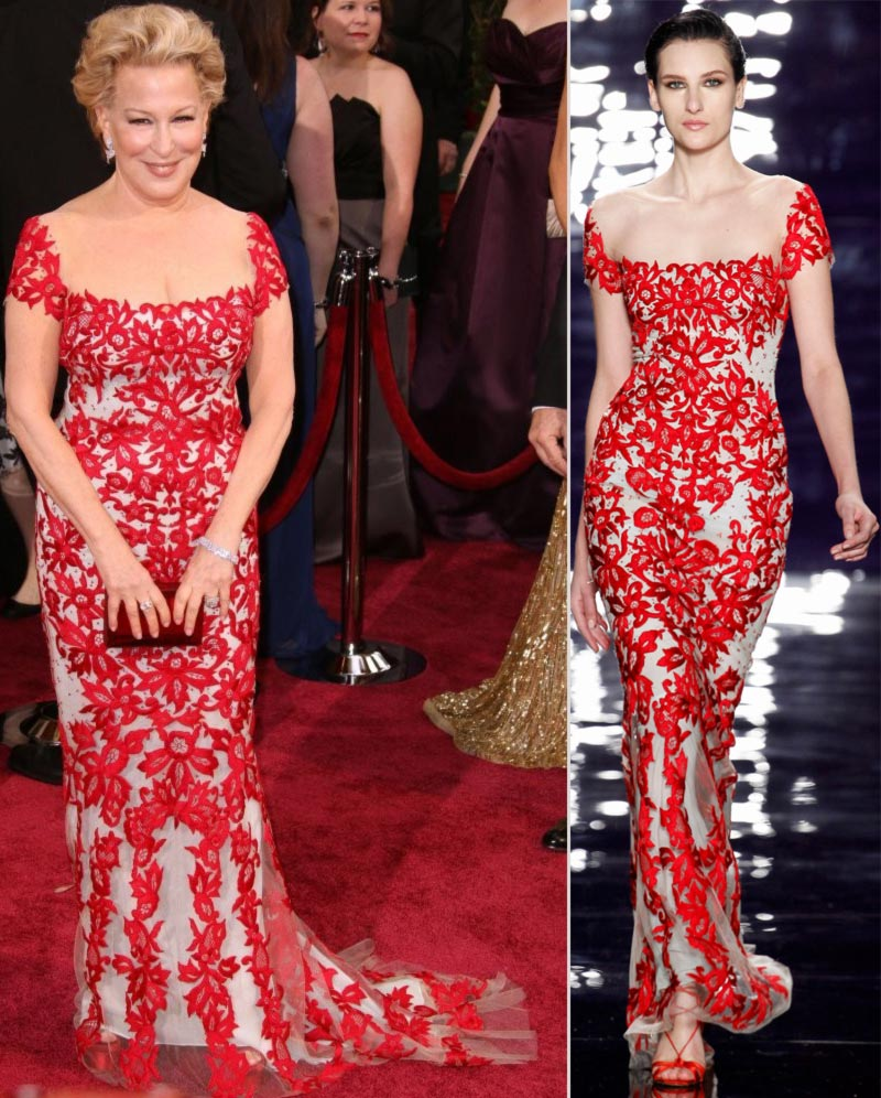 Bette Midler 2014 Oscars red lace dress Reem Acra