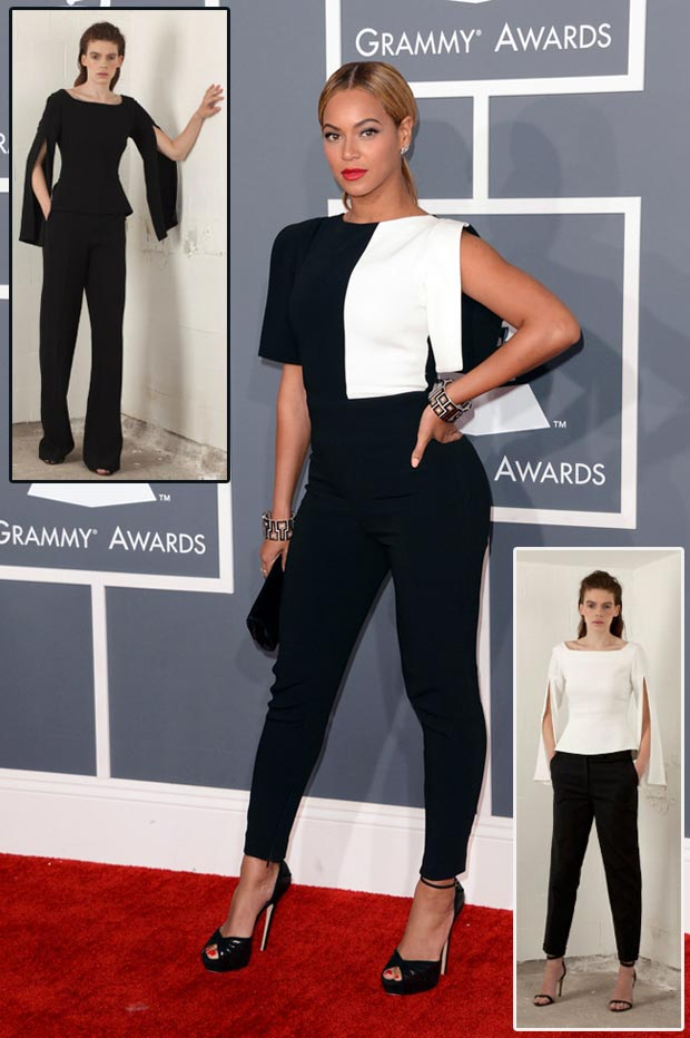 Beyonce 2013 Grammy black and white Osman Jumpsuit