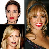 Angelina Jolie Charlize Theron Beyonce red lips