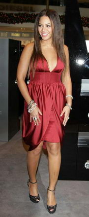 Beyonce Proudly Wearing Emporio Armani Red Nightgown (dress)