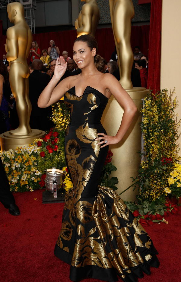beyonce black dress oscars 2009 2
